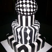 Art Deco Cake  Art Deco design for Art Gallery opening.Fondant covered. The ball cake was attached on location.If I had it to do again....I would...