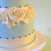 Baby Blue Cake With Roses This is a cake I made for my 14 year old neice on her confirmation day. She loves baby blue. I know it looks like a wedding cake, but she...