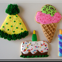 Birthday Cookies These cookies were large. The party hat and the ice cream cone were as big as my hand.