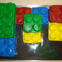 Lego Cake Lego cake - all made from loaf pans wanted to use chocolate covered oreo's for the tops of the legos, but ended up making rice krispie...