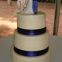 1St Wedding Cake This is my first wedding cake - for a friend of a co-workers sister. Vanilla cake with buttercream icing, blue fabric ribbon and pearls on...