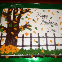 Fall Birthday Sheet cake, fall leaves, all BC... saw this design here on CC, thanks to whomever it was!