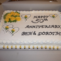 50Th Anniversary Yellow Roses Sheet cake, yellow BC roses, 50th anniversary