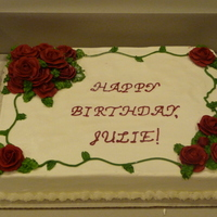 Rosy Birthday Sheet cake, red BC roses
