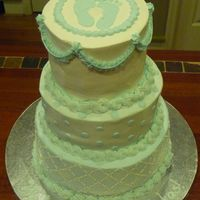 Baby Shower Cake three-tier, vanilla, vanilla buttercream. Designed to match the paper plates they would be using at the shower