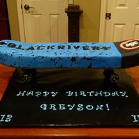 Skateboard Cake Built On Real Skateboard Deck This is a vanilla cake, vanilla icing, fondant covered. I built it on top of a real skateboard deck, which will be a gift to the birthday...