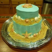 Beachy Birthday Cake Two tier, bottom is vanilla with chocolate icing and top is chocolate with vanilla icing... molded white chocolate seashells, brushed with...
