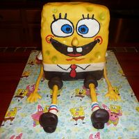 3D Spongebob This is a 3D Spongebob cake I made for a child's birthday... vanilla cake, fondant with fondant and buttercream accents. Arms are...