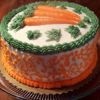 102_2263-1.jpg Carrot Cake I made for us at home.Was a box mix:Duncan Hines Moist Deluxe Decadent Carrot Cake and it was very good. Cream cheese frosting...
