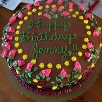 Jenny's Birthday Cake This wasn't decorated as I had planned for weeks. Had Technical diff.with the cake,filling & frosting! Also broke down in the car...