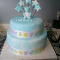 "Baby Boy Cake 10"" chocolate with an 8"" vanilla both with buttercream and mmf."