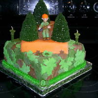 Hunting Cake A 10 inch square with a 7inch square and a 6inch round. The trees are two cupcakes stacked and shaped to a cone with a hershey kiss to make...