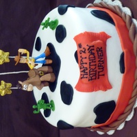Woody Toy Story  Woody Toy Story themed cake covered in MMF. Red strip around bottom, banner, rope and stars made of modeling chocolate. Stars have pixie...