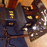 "Halloween Haunted House Huge cake! 22"" tall, approx. 50-60 lbs. Cookies and Cream cake with Chocolate Ganache and MMF. RKT for roofs and porch, modeling..."