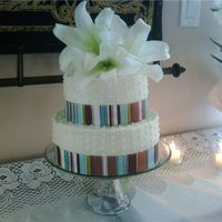 Simple Ribbon Round Wedding Cake A simple two-tier ribbon wedding cake for friends who finally got married after 10 years!(I used buttercream to ice the cakes instead of...