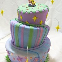 Whimsical Tink combo cake - bottom layer dark chocolate, chocolate custard filling, middle layer dense butter cake with vanilla custard, top layer '...