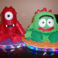 "Yo Gabba Gabba My Yo Gabba Gabba cake! This was an all-nighter! Muno is 4x 4"" round cakes covered in marzipan, Brobee is 3x 6"" rounds, covered..."