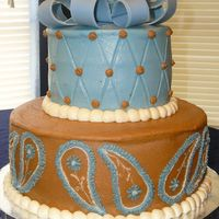 Paisley Bridal Shower Cake I made for a lady at work who was giving a bridal shower. It is chocolate cake with buttercream and a fondant bow.