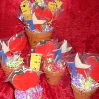 1St Cookie Bouquet These are 5 cookie bouquets for the kid's teachers. They each decorated the pots with markers. The teachers loved them. This was the...