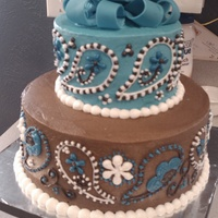 Paisley Baby Shower Cake Updated paisley cake from the first one I did over a year ago. The detail in each paisley was easier and was fairly quick to finish. I...