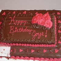 Joye's 10Th This was a cake for my niece's birthday. The left is strawberry and the right is chocolate. buttercream roses and pink hearts (Joye...
