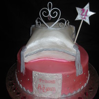 Princess Cake This is my first pillow cake, and my first Gumpaste tiara, Cakes are butter cream with fondant accents.