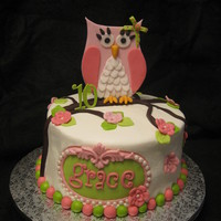 "Retro Owl Birthday 8"" Layers, Buttercream with fondant accents."