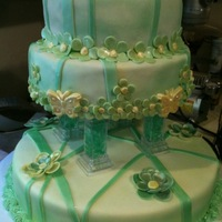 Green Quinceanera Cake