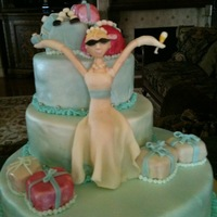 Wedding Shower Cake This was a cake made to match an invitation used for a wedding shower. It is covered in fondant. The handbags and gifts are cakeballs. The...