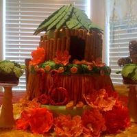 Luau Cake  This is a three layer cake made for my daughter's Luau them 16th birthday party. There was a strawberry layer, a chocolate layer and a...