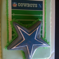 Dallas Cowboys Fondant covered carved cake.