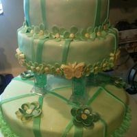 Green Quinceanera Cake Fondant covered with fondant accents---airbrushed and edible glitter