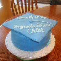 Graduation Cap tassle is buttercream, square part is rice crispy treat covered in fondant, everything else fondant