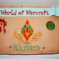 World Of Warcraft Birthday Cake Almost my entire family plays WoW, including my 6 year old nephew. I made this for him with his class, faction and race crests. All...