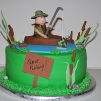 Gone Fishing! Retirement cake for a coworker. Yellow cake covered in buttercream icing and fondant with fondant accessories. Thanks bstates and other for...