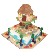 Beach / Tiki Hut Sweet 16 Cake I saw a pic from another CC on here and they were super helpful to me.....i made this for some friends who daughters were turning sweet 16...