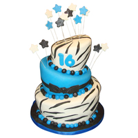 Sweet 16 Black And Blue Zebra Birthday Cake www.facebook.com/katherinescakes