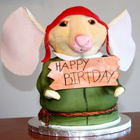 Despereaux Well this is the first full 3D cake I have made. I did not realize till the last min that I spelled birthday wrong :o lol oh well, there is...