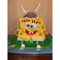 "Sponge Bob Easter Bunny  This cake was the biggest, sculpted cake I've ever made. 13"" high, 12"" wide, and 6"" deep. I learned a lot. Despite some..."