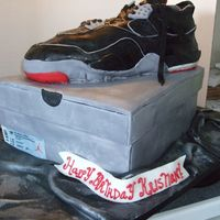 Air Jordan Birthday Cake  I made this Air Jordan and Jordan shoebox for my husband's 30th birthday. The shoe was wasc carrot cake and the box was red velvet. I...