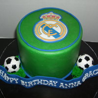 Soccer Birthday  This cake was made for an 11 year old girl who loves soccer. The logo is from her favorite soccer club - the Real Madrid soccer club. The...