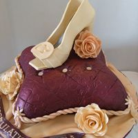 "Bridal Shower Pillow The ""pillow"" was yellow cake filled with a chocolate SMBC. The sugar shoe was made to match the bride's shoe she will wear..."