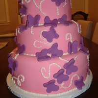 3 Tiered Butterfly Baby Shower Cake all fondant with fondant decorations.