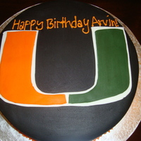 Miami Hurricanes Birthday Cake 12 in covered in fondant with fondant u!!