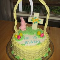 Easter Basket Cake My first ever attempt at basket weave. Had to cheat on the bunny, cross, and eggs (got them at walmart) because I was running low on time....