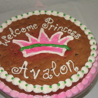 Princess Baby Shower Cookie Cake  i really didn't do a great job on this one either lol. my icing was melting while i was working on it. but it was soooo yummy. now i&#...
