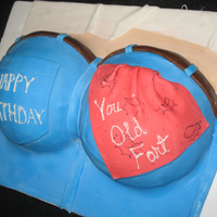 Butt Cake For Old Man  thsi was another last minute cake,. i seem to get a lot of those, lol. my hubby came home for lunch and said it was his bosses bday so...