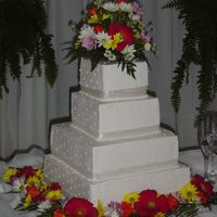 Square Wedding Cake With Gerber Daisy's