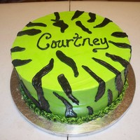 Lime Green Zebra my very first time to do zebra...its all buttercream icing