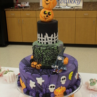 Halloweennnnnnnnnn!!!!!!!! 12, 8 and 6 inch tier with gumpaste and fondant decor!fun to make, hope you enjoy!